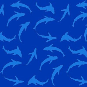 Abstract Blue Scattered Shark School