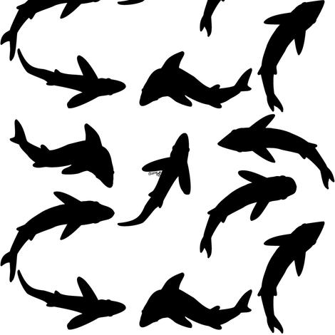 Abstract shadow Shark School fabric by combatfish on Spoonflower - custom fabric