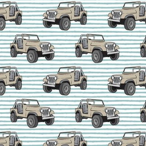 jeeps - beige on dusty blue stripes