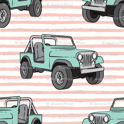 jeeps - mint on pink stripes
