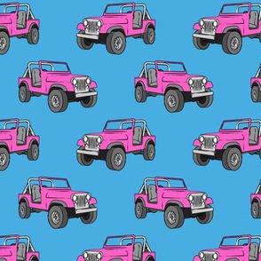 jeeps - pink on blue