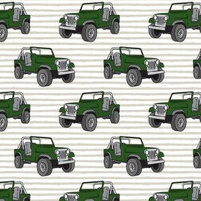 jeeps - green on beige stripes