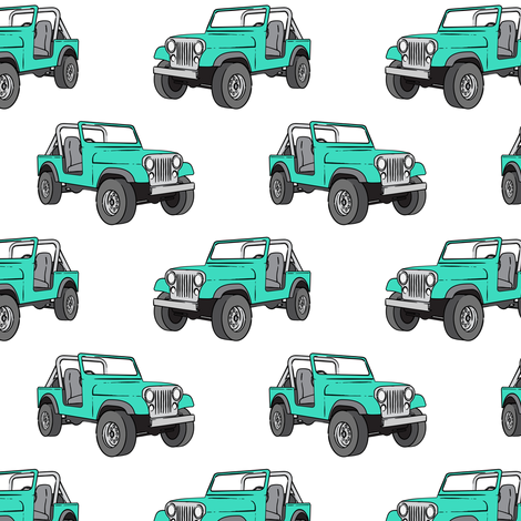 jeep - bright mint fabric by littlearrowdesign on Spoonflower - custom fabric