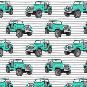 jeeps - bright mint on stripes