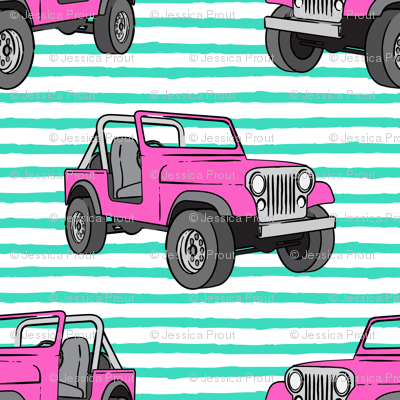 jeeps - pink on bright mint
