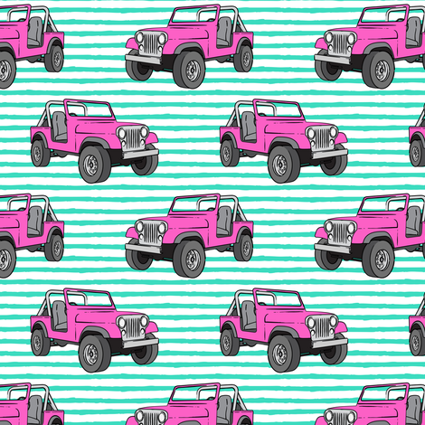 jeeps - pink on bright mint fabric by littlearrowdesign on Spoonflower - custom fabric