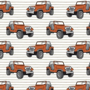 jeep - rust orange on beige stripes
