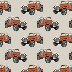 jeep - rust orange on beige