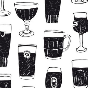 Beer glasses black and white
