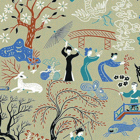 Midcentury Chinoiserie 1b fabric by muhlenkott on Spoonflower - custom fabric