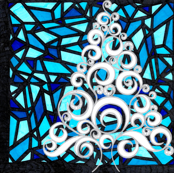 Silver Christmas Tree with Stained Glass