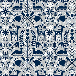 Nordic Small Wallpaper Navy and Grey