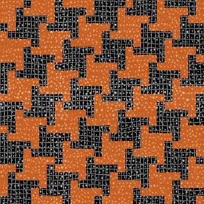 Black and Orange Diagonal Halloween Houndstooth Plaid