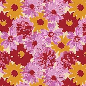 Maroon, Pink & Orange Flowers