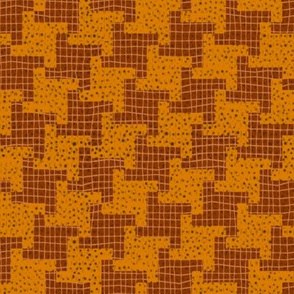 Brown and Orange Diagonal Halloween Houndstooth Plaid