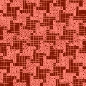Red and Pink Diagonal Houndstooth Plaid