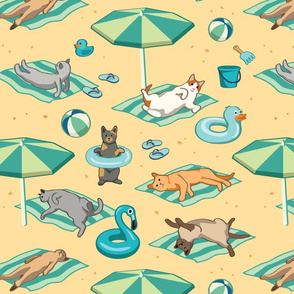 Cats at the Beach Seamless Pattern