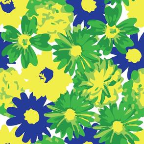 Blue, Green & Yellow Flowers
