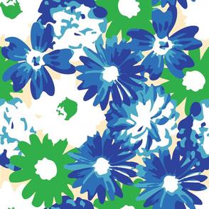 Green, Blue & White Flowers