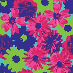 Pink, Green & Blue Flowers 2