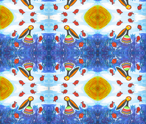 Pelican Paradise fabric by valerie_dortona on Spoonflower - custom fabric