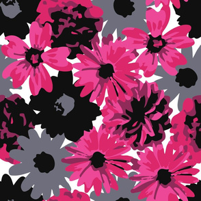 Pink, Grey & Black Flowers