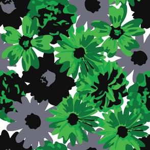 Green, Grey & Black Flowers