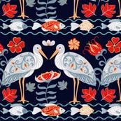 Folk Art Herons & Fish(Large)