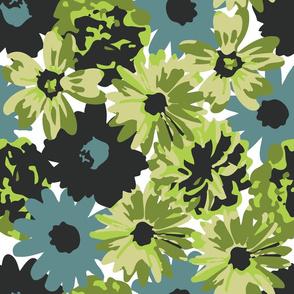 Green, Blue & Black Flowers