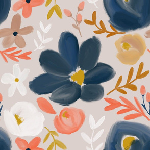November's Floral - Navy Blooms - LARGE scale