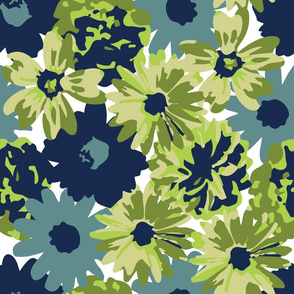 Green & Blue Flowers