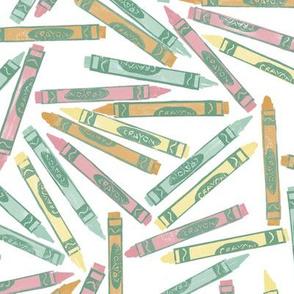 pastel spring crayons