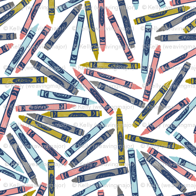 trendy crayons - navy, coral, bronze, grey, aqua