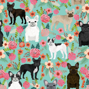 EXTRA LARGE PRINT - French bulldog fabric, frenchie floral fabric, french bulldog fabric by the yard, french bulldog floral fabric, dog fabric, dog breeds fabric, cute floral pet fabric