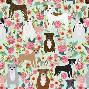 EXTRA LARGE PRINT  Pitbull floral fabric - pitbull dog fabric, floral fabric, dog breeds fabric, pitbulls fabric, pitbull floral fabric, dog fabric by the yard, pitbull fabric by the yard