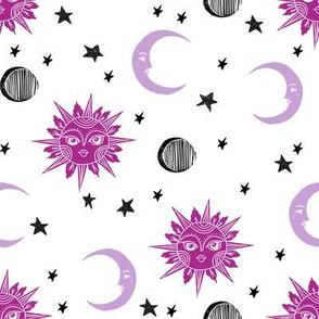 sun moon stars fabric - linocut fabric, mystic tarot fabric, moon phase, witch, ouija, mystical, magic, magical fabric - purple
