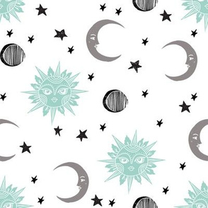 sun moon stars fabric - linocut fabric, mystic tarot fabric, moon phase, witch, ouija, mystical, magic, magical fabric - mint and grey