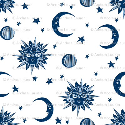 sun moon stars fabric - linocut fabric, mystic tarot fabric, moon phase, witch, ouija, mystical, magic, magical fabric - navy and white