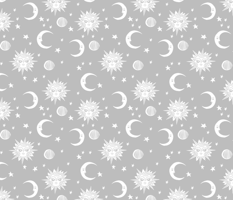 sun moon stars fabric - linocut fabric, mystic tarot fabric, moon phase, witch, ouija, mystical, magic, magical fabric - grey fabric by andrea_lauren on Spoonflower - custom fabric