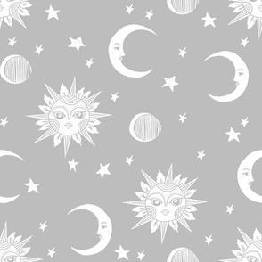 sun moon stars fabric - linocut fabric, mystic tarot fabric, moon phase, witch, ouija, mystical, magic, magical fabric - grey