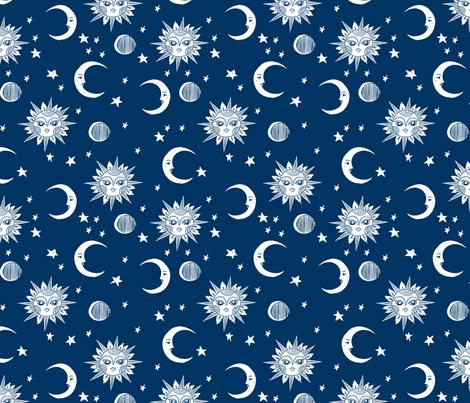 sun moon stars fabric - linocut fabric, mystic tarot fabric, moon phase, witch, ouija, mystical, magic, magical fabric - navy fabric by andrea_lauren on Spoonflower - custom fabric