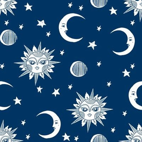 sun moon stars fabric - linocut fabric, mystic tarot fabric, moon phase, witch, ouija, mystical, magic, magical fabric - navy