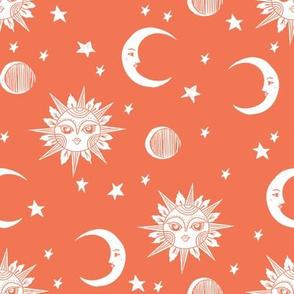 sun moon stars fabric - linocut fabric, mystic tarot fabric, moon phase, witch, ouija, mystical, magic, magical fabric - orange
