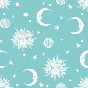 sun moon stars fabric - linocut fabric, mystic tarot fabric, moon phase, witch, ouija, mystical, magic, magical fabric - teal