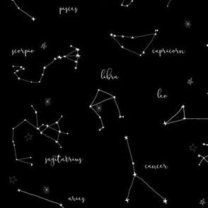 zodiac constellations - star sign fabric, astrology fabric, zodiac fabric, constellations fabric, mystical art, illustration, - black