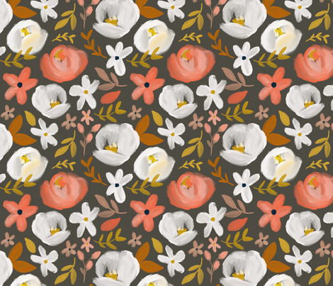 November's Florals - Autumn Charcoal  fabric by smallhoursshop on Spoonflower - custom fabric
