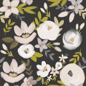 Modern Moody Fall Floral Nudes and Neutrals - Charcoal - Large Scale