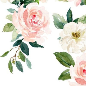 "12"" Chic Blush Roses // White"