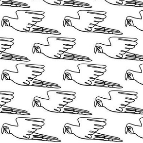 Parrot, Line Drawing, Black on White