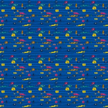 Monsters! Blue! fabric by hugga on Spoonflower - custom fabric